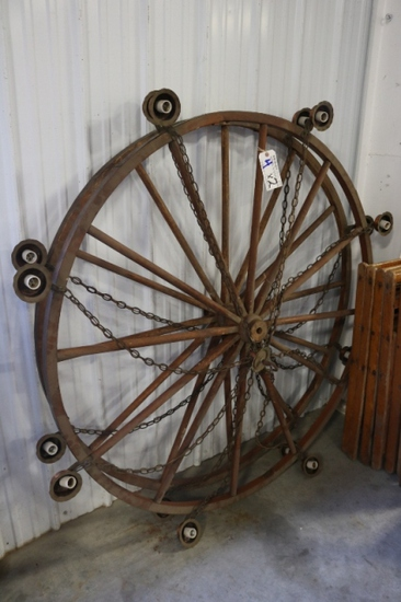 Times 2 - Hanging wood wagon wheel lights - NEAT