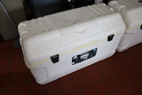 Times 2 - Igloo 165 qt coolers - 1 unit is missing the top lid - hinges are