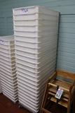 Times 24 - white poly dough boxes with cart - most good - some cracked