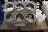 Plastic counter top silverware display/dispenser