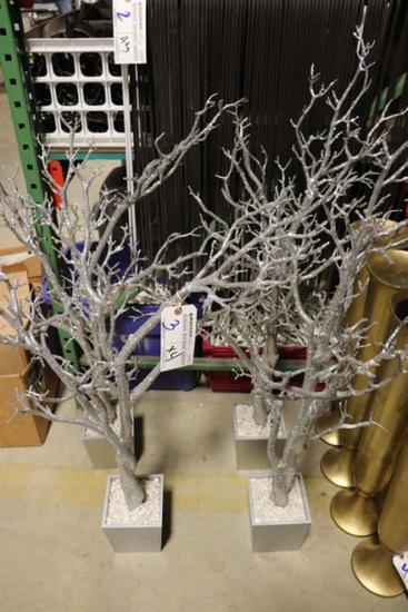 "Times 4 - 48"" tall silver glitter decorative trees"