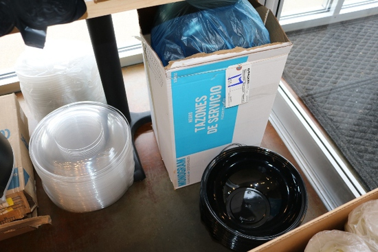 "Case of Monogram 12"" black bowls with lids"