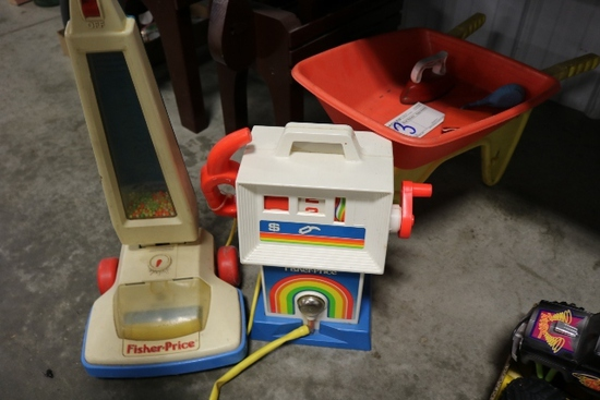 Fisher price vacuum, wheel barrel, gas pump