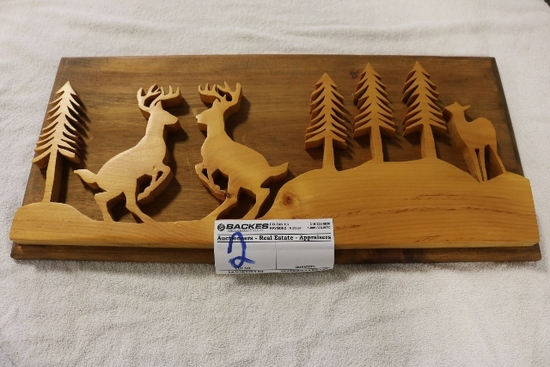 "24"" CD Groves wood deer fighting silhouettes"