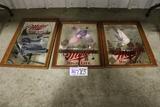 Times 3 - Miller High Life Pheasant/ Mallard duck/ loon framed wall mirrors