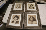 Times 4 - Framed wall pictures, Wyatt Earp/ Billy the Star/ Belle Star/ Ger