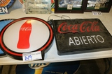 Times 2 - Coca-Cola lighted signs - missing one power cord