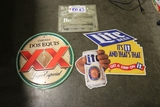 Times 3 - Budweiser, Dos Equis, Lite beer metal wall tins