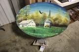 Dish antenna with homemade painted farm scene