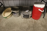 All to go - cooler, broiler grill, and pans