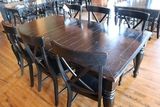 44 x 78 Black wood dining table w/6 chairs