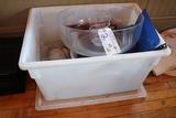 18x26x12 Food storage w/lid & misc.