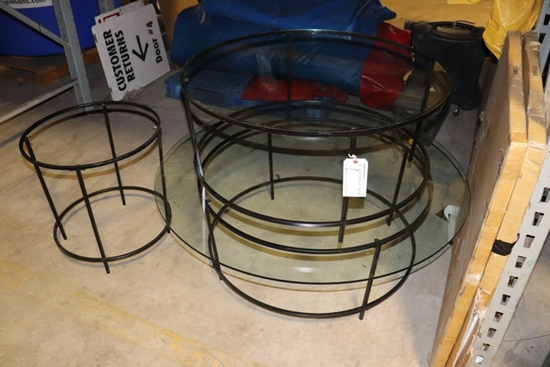 """All to go - 2) 36"""" and 1) 22"""" glass top patio tables"""
