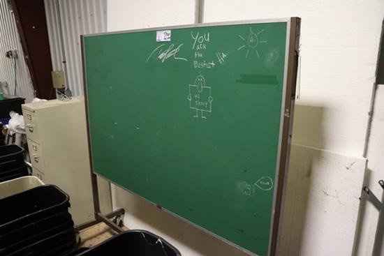 "48"" x 6' - 2 sided chalk board/ cork board - 1 bad caster"