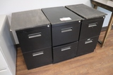 Times 3 - black 2 door file cabinets -as is tops
