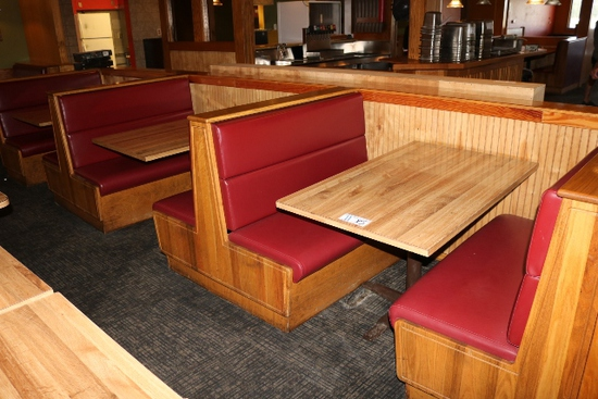 Times 5 - Solid Oak & burgundy vinyl  4 passenger booth openings with table