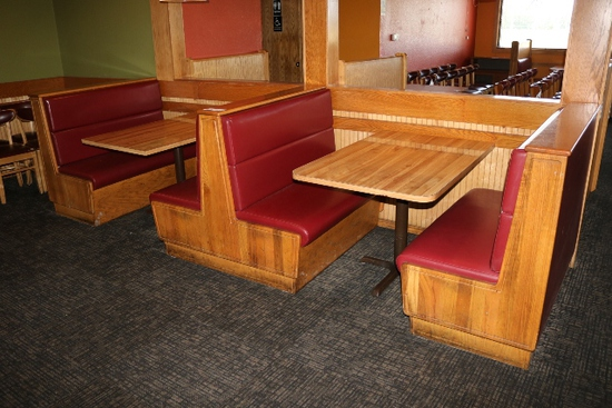 Times 2 - Solid Oak & burgundy vinyl  4 passenger booth openings with table