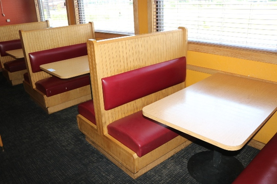 Times 4 - Solid Oak & burgundy vinyl  4 passenger booth openings with table