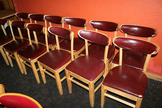 Times 12 - Maple dining chairs with burgundy back & seats - AS IS - no bras