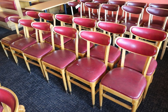 Times 12 - Maple dining chairs with burgundy back & seats - AS IS - with br