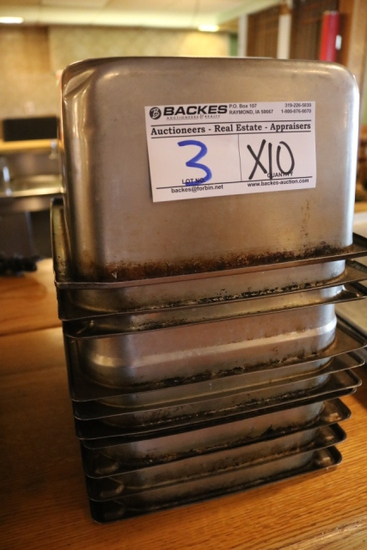 """Times 10 - 1/2 x 6"""" stainless inset pans - no lids"""