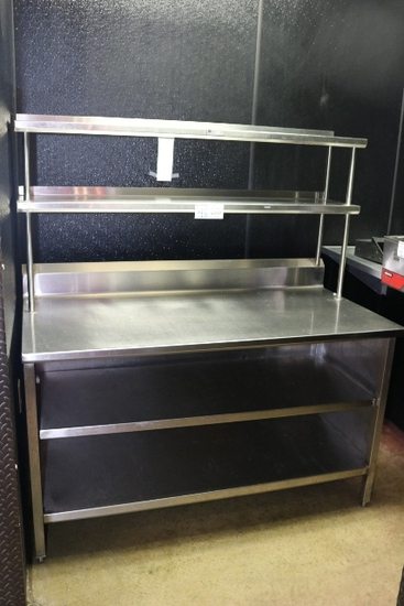 """John Boos 30"""" x 60"""" stainless table with double stainless undershelf & over"""