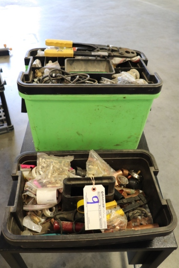 Plumbers tool box with crimper, copper fittings, & more