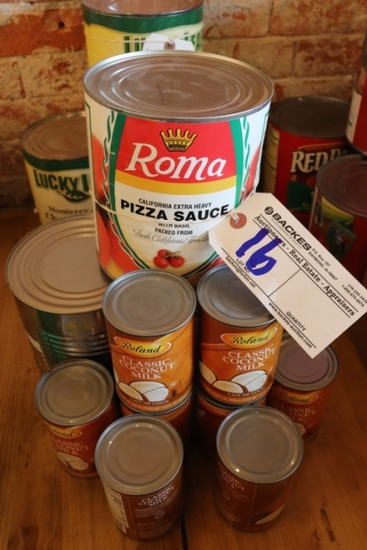 All to go - Misc. food cans, pizza sauce, coconut milk, salsa, & more