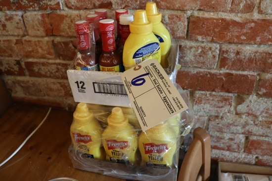 Case + of French's mustard & hot sauce