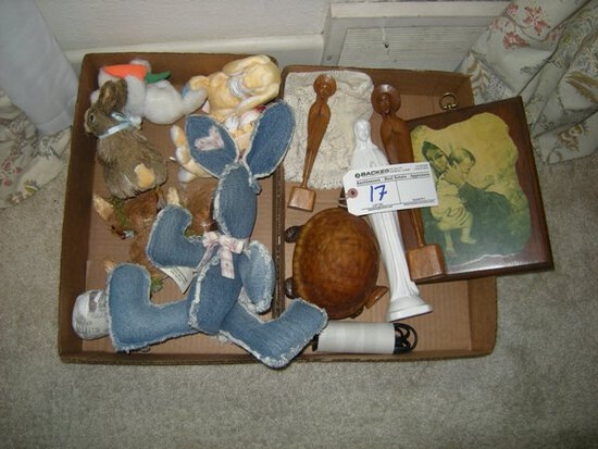 All to go 2 boxes carvings and stuffed animals