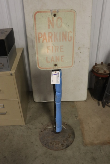 No Parking Fire Lane sign with heavy duty stand - sign is faded
