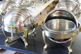Times 2 - Vollrath 6 quart round stainless rolltop chaffing units with gold