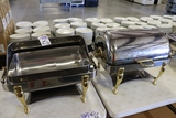 Times 2 - Vollrath 9 quart rectangle stainless roll top chaffing units with