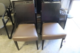 Times 2 - Black wood framed, brown vinyl seat dining chairs