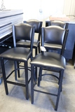 Times 4 - Black metal framed, black vinyl seats & backs bar chairs