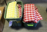 Pair to go - 2 totes of red & yellow checkered table linens