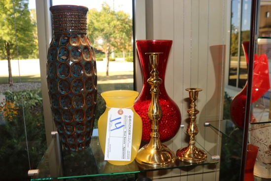 All to go - 3 vases & 2 candle stick holders