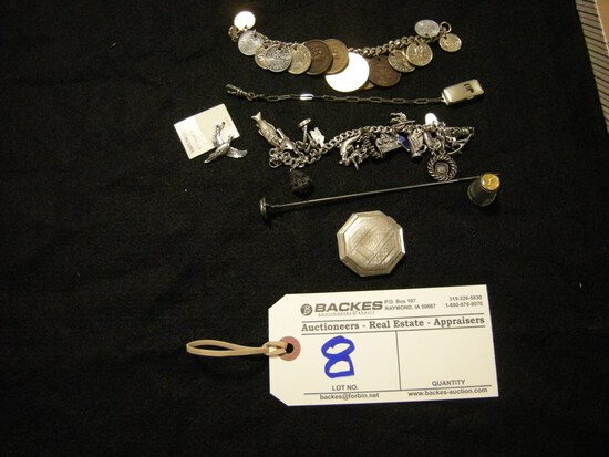 All to go - Charm Bracelets and hat pin and thimble