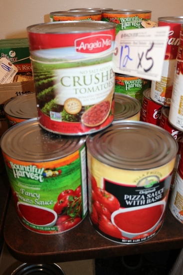 Times 5 - Cans of crushed tomatoes, pizza sauce, & tomato sauce