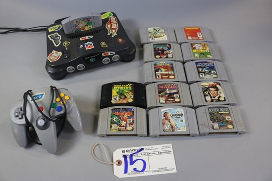 Nintendo 64 game console w/ 13 assorted games & hand controller