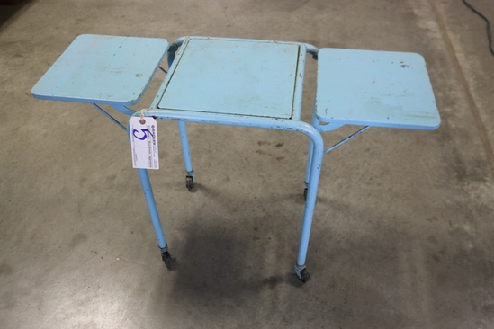 "Blue metal 15"" x 40"" drop sides portable table"