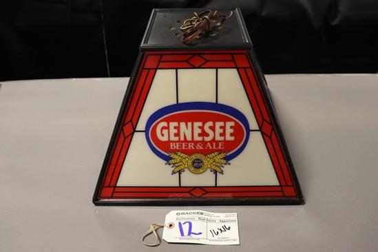 "16"" x 16"" Hanging Genesee Beer table light - needs power cord"