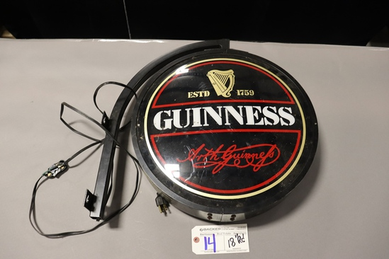 """18"""" Round Guinness wall mount hanging light - needs new power cord"""