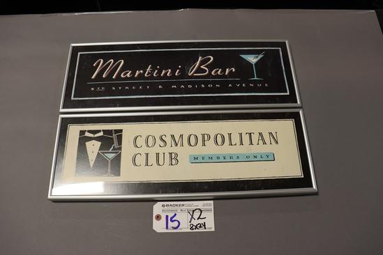 "Times 2 - 8"" x 24"" Martini bar & Cosmopolitan framed wall signs"