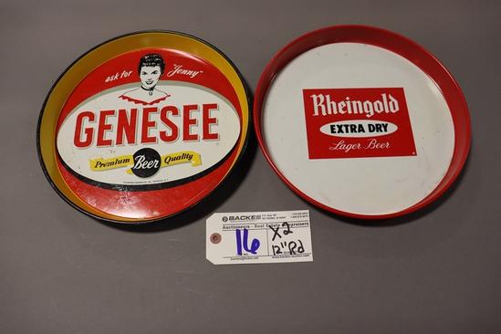 "Times 2 - 12"" Round Genesee & Rheingold service trays"
