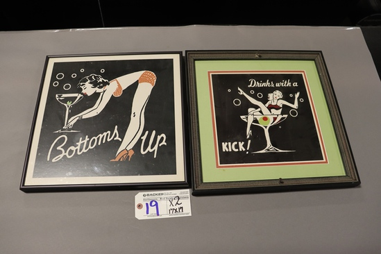 """Times 2 - 17"""" x 17"""" Bottoms Up & Drinks with a Kick frame wall pictures"""