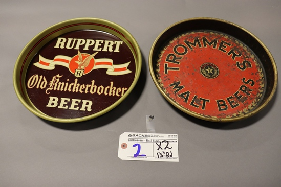 """Times 2 - 13"""" Round Roupert  & Trommers service trays"""