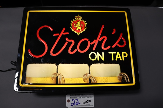 """16"""" x 20"""" Stroh's on Tap - plastic neo neon lighted wall sign"""