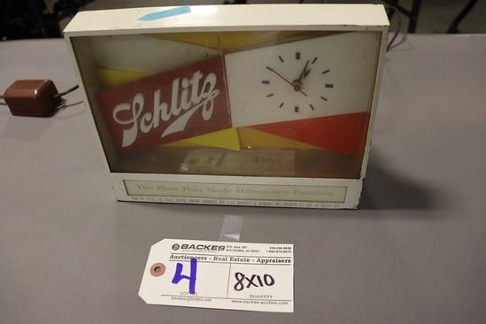 "8"" x 10"" Schlitz metal frame lighted clock - crack in front lenses - may ne"