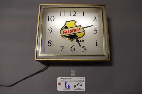 "11"" x 13"" Falstaff lighted clock - works"